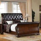 Furniture of America South Yorkshire CM7267EK-BED Eastern King Bed with Luxurious Baroque Style  Sleigh Bed  Padded Leatherette H/B and F/B  Solid Wood  Wood Veneer and Others in Brown Cherry