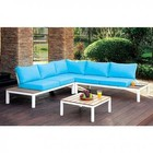 Furniture of America Winona CM-OS2580-PK Patio Sectional  with Contemporary Style  L-Shaped Sectional  Plank Style Design  Box Seat Cushions in Blue/White