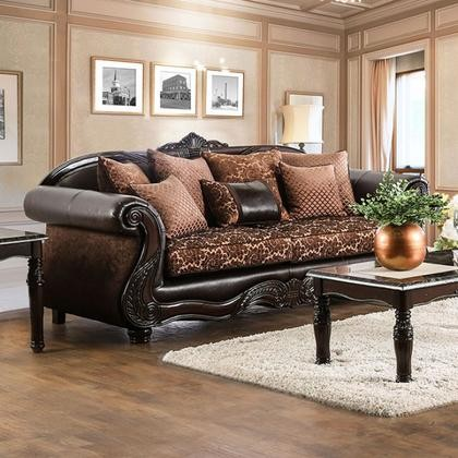 Furniture Of America Elpis SM6404 SF Sofa With Traditional Style Chenille  Fabric And Faux Leather Intricate ...
