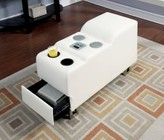 Furniture of America Kemi CM6553WH-CS Bluetooth Speaker Console with Contemporary Style  Chrome Legs  Bonded Leather in White