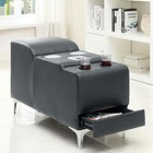 Furniture of America Bourdet II CM6669GY-CS Bluetooth Speaker Console with Contemporary Style  Chrome Legs  Gray Bonded Leather Match in Gray