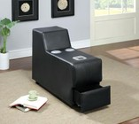 Furniture of America Floria CM6122BK-CS Bluetooth Speaker Console with Contemporary Style  Chrome Legs  Bonded Leather Match in Black
