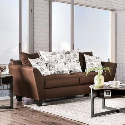 Furniture Of America Delanie Sm6203 Sf Sofa With Contemporary Style Linen Like Fabric Loose Back Pillows