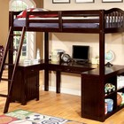 Furniture of America Dutton CM-BK265EX-BED Twin Loft Bed  with Built-in Desk  Multiple Storage  15 Pc. Slats Top and Bottom  Angled Ladder in Dark Walnut