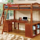 Furniture of America Dutton CM-BK265A-BED Twin Loft Bed  with Built-in Desk  Multiple Storage  14 Pc. Slats Top and Bottom  Angled Ladder in Oak