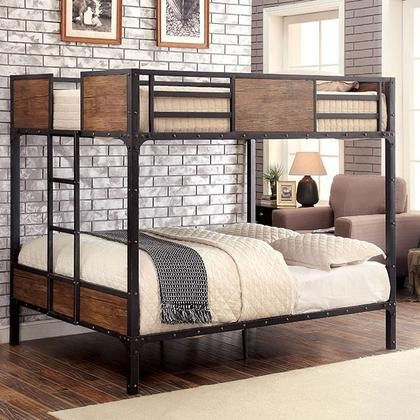 Merveilleux Furniture Of America Clapton CM BK029FF Full/Full Bunk Bed With Industrial  Inspired Design Attached Ladder ...