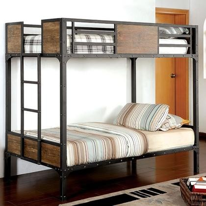 Furniture Of America Clapton CM BK029TT Twin/Twin Bunk Bed With Industrial  Inspired Design Attached Ladder ...