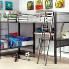 Furniture of America Ballarat CM-BK1049 L-Shaped Triple Twin Bunk Bed  in Gray and Silver