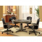 Furniture of America Yelena CM-GM357T-TABLE Game Table with Contemporary Style inter-Changeable Design  Pedestal Base  Built-In Cup Holders in Gray