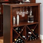Furniture of America Voltaire CM-CR142BT Bar Table with Traditional Style  Curio Set  3mm Glass Shelves  Standing Bar Table in Dark Cherry
