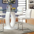 Furniture of America Lodia II CM3825WH-RPT-TABLE Round Counter Ht. Table with Contemporary Style  10mm Tempered Glass Top  High Gloss Lacquer Coating  O-shape Base Design in White