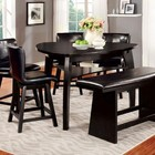 Furniture of America Hurley CM3433PT Counter Ht. Table with Modern Style  Triangular Table Top  Lower Shelf  Solid Wood  Wood Veneer and Others in Black