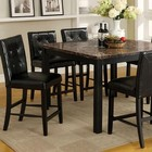 Furniture of America Boulder II CM3870PT Faux Marble Square Counter Ht. Table with Contemporary Style  Faux Marble Table Top  Solid Wood  Wood Veneer and Others  Black Finish in Black