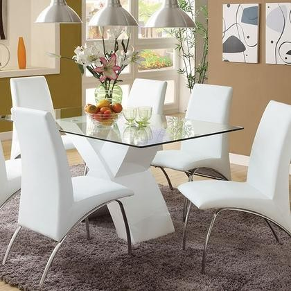 Furniture Of America Wailoa Collection Cm8370wh T Table 59 Dining With High Gloss Lacquer Coating X Shape Base And 12mm Tempered Gl