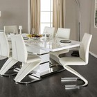 """Furniture of America Midvale CM3650T-TABLE Dining Table with Contemporary Style  14"""" Butterfly Leaf  Z-Shaped Chair Base  Easy Leaf Expansion in White/Chrome"""