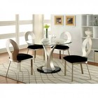 Furniture of America Valo CM3727T-TABLE Round Dining Table with Contemporary Style  8mm Tempered Glass Top  Flared V-shape Table Base  Oval Back Chair in Silver/Black