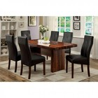 Furniture of America Bonneville I CM3824T-TABLE Dining Table with Contemporary Style  Leatherette Parson Chair  Rosewood Grain Design  Faux Marble Insert Table Top in Brown Cherry