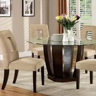 Furniture of America West Palm I CM3625T-TABLE Glass Top Round Dining Table with Contemporary Style  10mm Tempered Glass Top  Solid Wood  Wood Veneer and Others  Espresso Finish in Espresso
