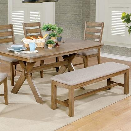 Furniture Of America Xochil CM3171T Dining Table With Transitional Style  Trestle Base Slat Back Chair Padded ...
