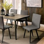 Furniture of America Vilhelm I CM3360T Dining Table with Mid-Century Modern Style  Framed Table Top  Tapered Legs  Gray Linen-like Fabric in Gray