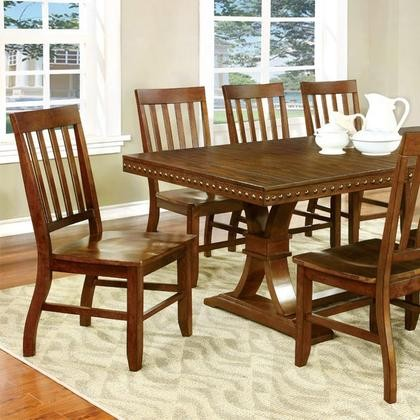 Furniture Of America Foster I CM3437T TABLE Dining Table With Transitional  Style Slated Back Chairs Plank ...