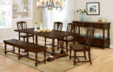 Furniture Of America Griselda CM3136T Dining Table With Transitional Style  Plank Design Slat Back Chairs Wooden ...