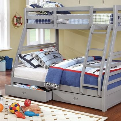Furniture Of America California Iii Cm Bk588gy Bed Twin Full Bunk With 1 2