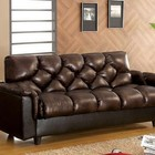 Furniture of America Bowie CM2120 Leather-Like Futon Sofa  with Contemporary Style  Converts Into Bed  Brown  Leather-Like Fabric Match in Brown
