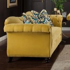 Furniture of America Antoinette SM2223-LV Love Seat with Deep Tufting with Acrylic Buttons  Pillows Included and Premium Velvet Fabric in Royal Yellow