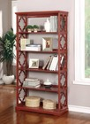 Furniture of America Joan CM-AC6280RD Display Shelf with Contemporary Style  Quatrefoil Inspired Design  6-Tier Bookshelf  Solid Wood  Others in Red