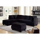Furniture of America Lomma CM6316-SECTIONAL Sectional with Contemporary Style  Plush Seats and Cushions  Plastic Leg  Flannelette Fabric (Ottoman Not Included) in Black