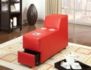 Furniture of America Floria CM6122RD-CS Bluetooth Speaker Console with Contemporary Style  Chrome Legs  Bonded Leather Match in Red