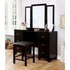 Furniture of America Enrico CM7088V-PK Vanity with Stool  Padded Stool Included  3-Sided Mirror and Drawers  Felt-Lined Top Drawers in Espresso