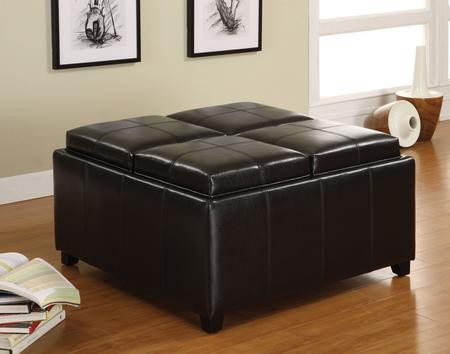 Furniture of America Elvina Collection CM4044 35  Tray Top Storage Ottoman with 4 Flip Top Trays ... & Furniture of America Elvina Collection CM4044 35