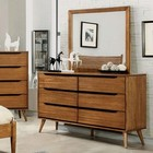 Furniture of America Lennart CM7386A-D Dresser with Mid-Century Modern Style  Round Tapered Legs  Recessed Drawer Handles  Solid Wood/Wood Veneer/Others in Oak