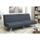 Furniture of America Arielle CM2431BL Futon Sofa with Contemporary Style  Biscuit Style Tufting  Linen-like Fabric  Split-back Design in Dark Blue