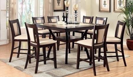 Furniture Of America Brent II Collection CM3984PT8PC 9 Piece Dining Room  Set With Rectangular Table And 8 Side Chairs In Dark Cherry And Ivory Finish