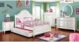 Furniture of America Henrieta Collection CM7193FBDMCN 5-Piece Bedroom Set with Full Bed  Dresser  Mirror  Chest  and Nightstand in  White Finish