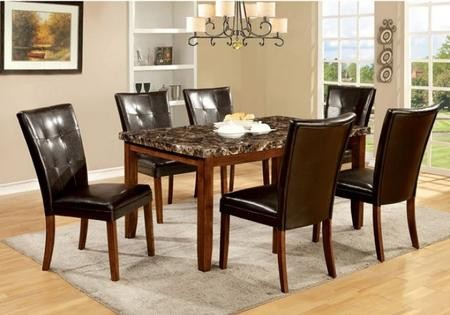 Furniture Of America Elmore Collection CM3328T6SC 7 Piece Dining Room Set  With Rectangular Table And 6 Side Chairs In Antique Oak Finish