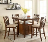 Furniture of America Arlington Collection CM3037PT4PC 5-Piece Dining Room Set with Square Counter Height Table and 4 Counter Height Side Chairs in Brown Cherry