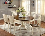 Furniture of America Harrisburg Collection CM3216OT6SC 7-Piece Dining Room Set with Oval Table and 6 Side Chairs in Vintage White/Dark Oak