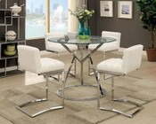 Furniture Of America Kona Ii Collection Cm8320ptct4bs 5 Piece Dining Room Set With 45 Quot Round