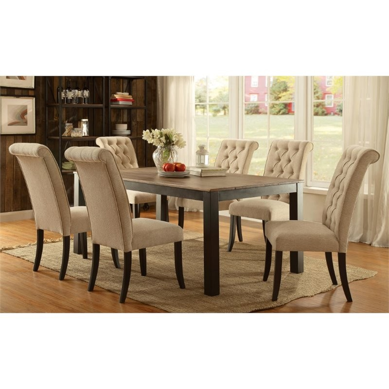 Cheap 7 Piece Dining Sets: Furniture Of America Lexon 7 Piece Dining Set In Black
