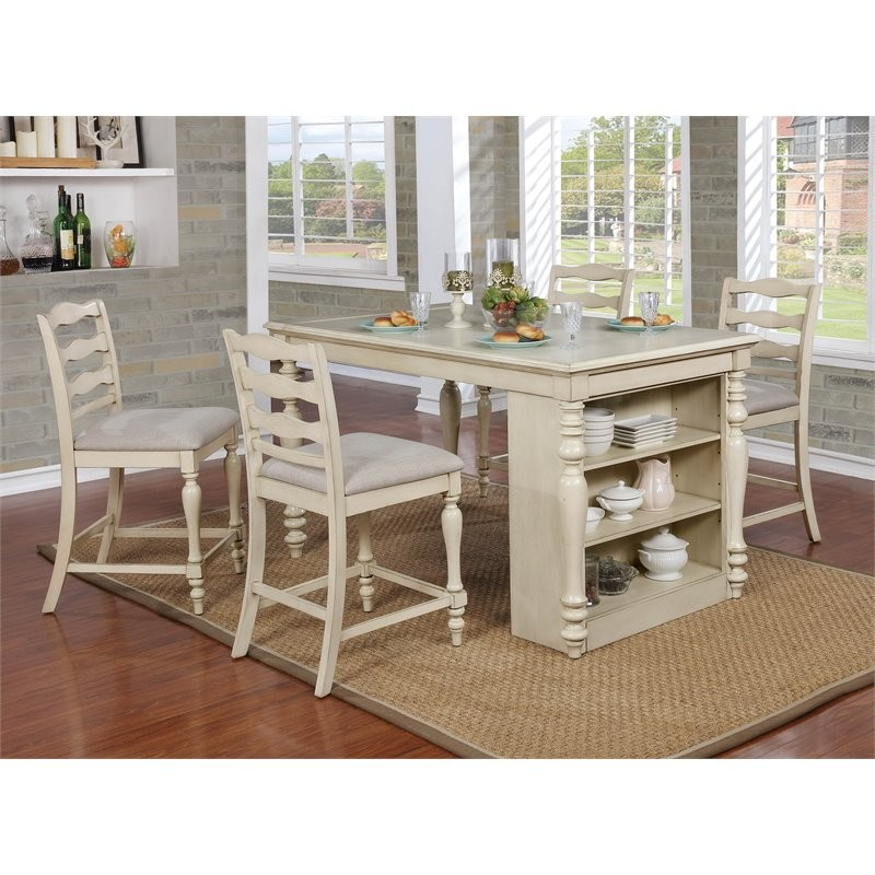 Cheap 5 Piece Dining Set: Furniture Of America Steph 5 Piece Counter Height Dining