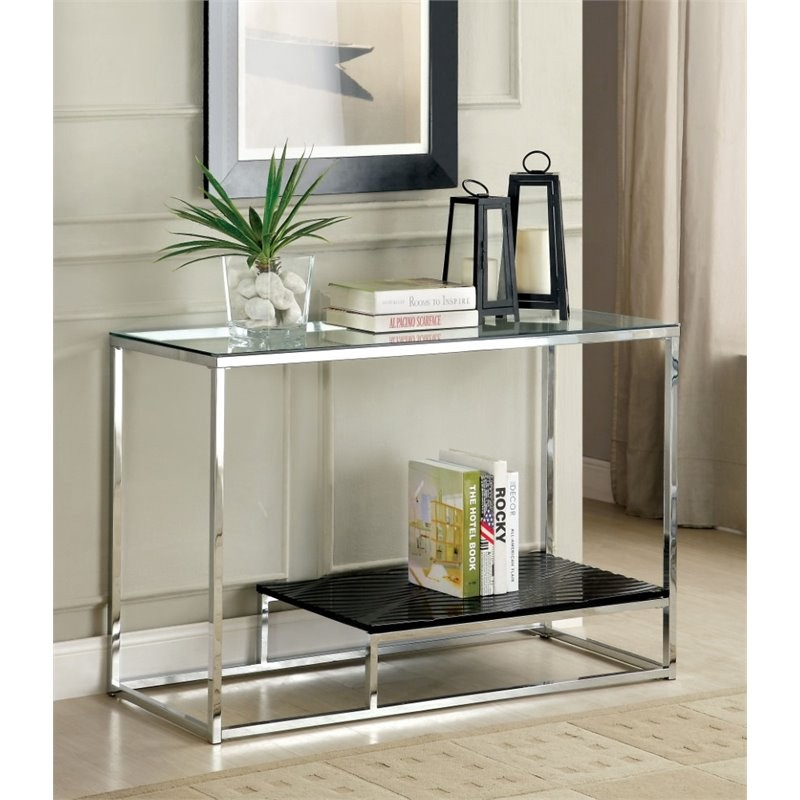 Furniture Of America Nadia Glass Top Console Table In Black