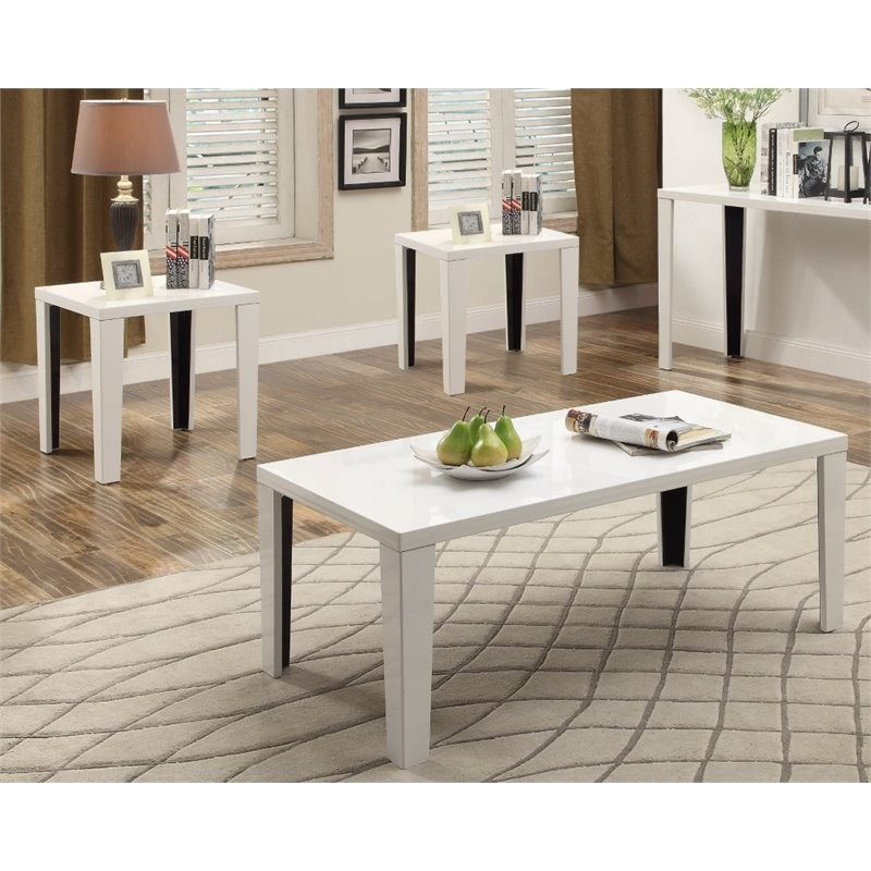 Furniture Of America Johnsey 3 Piece Coffee Table Set In White Bandit