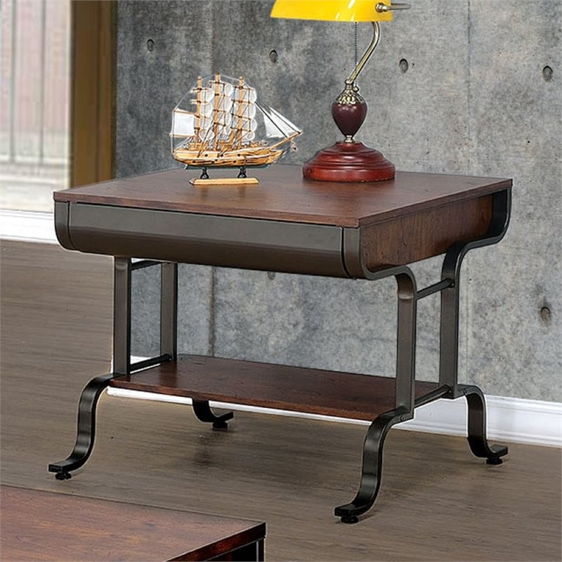 Discount Antique Furniture: Furniture Of America Morton End Table In Antique Oak