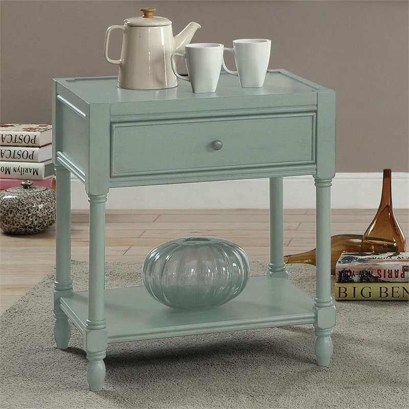 Furniture Of America Rheba End Table In Teal