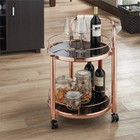 Furniture of America Barton Contemporary Serving Cart in Rose Gold