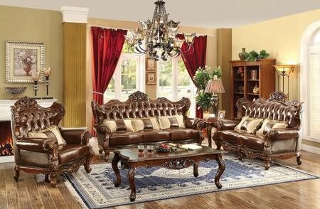 Furniture of America Jericho Collection CM6786-SLC-PK 3-Piece Living Room  Set with Stationary Sofa Loveseat and Chair in Brown and Dark Oak
